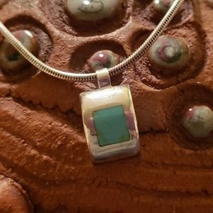 Sterling Silver and Turquoise Modernist Necklace